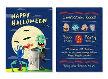 Halloween party invitation with happy zombie. In business suit near rip gravestone. Halloween event advertising with funny undead, festive carnival poster stock illustration