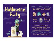 Halloween party invitation with happy zombie. Near rip gravestone. Halloween event advertising with funny undead, festive funny carnival poster. Walking dead vector illustration