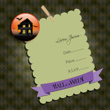 Halloween Party invitation.with  haunted house. Stock Image