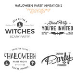 Halloween 2016 party invitation label templates with holiday symbols - witch hat, bat and typography elements. Royalty Free Stock Photo