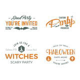 Halloween 2016 party invitation label templates with scary symbols - witch hat, bat and typography elements.  Royalty Free Stock Photography