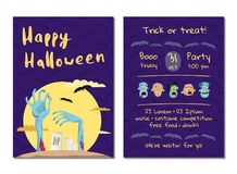 Halloween party invitation with monster hands Stock Image