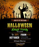 Halloween invitation with zombies hands Royalty Free Stock Image