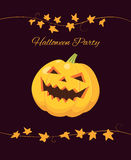 Halloween party invitation, pumpkin on black Royalty Free Stock Photo