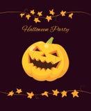 Halloween party invitation, pumpkin on black. Halloween party invitation, elegant classic style with brush script text. Vector illustration of laughing Halloween Royalty Free Stock Photo