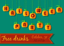 Halloween Party invitation. Pumpkin font Stock Photos