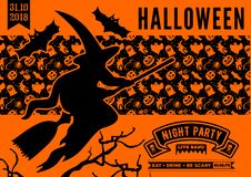 Halloween party invitation with scary pumpkin. Vector illustration royalty free illustration