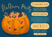 Halloween party invitation with scary pumpkin Royalty Free Stock Images