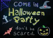Halloween Party invitation. Sign on blackboard Stock Images