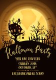 Halloween party invitation with spooky castle Stock Image