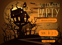 Halloween party invitation with spooky castle Stock Photos