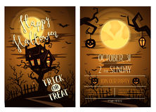 Halloween party invitation with spooky castle Royalty Free Stock Photography