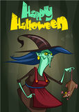 Halloween party invitation with ugly witch with a rat. Vector illustration Royalty Free Stock Photos