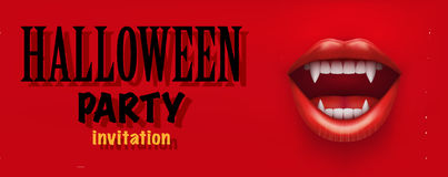 Halloween Party Invitation with vampire mouth Royalty Free Stock Photo