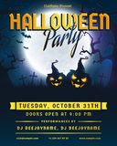 Halloween party invitation. Vector flyer. Halloween party invitation. Flyer template with full moon, scary trees and evil pumpkins. Spooky night banner. Vector Royalty Free Stock Images