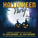 Halloween party invitation. Vector template with full moon, scary trees and pumpkins. Spooky night banner Stock Photo