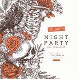 Halloween party invitation. Vintage floral anatomy background. Vector illustration. Vector illustration. Halloween party invitation. Vintage floral anatomy vector illustration