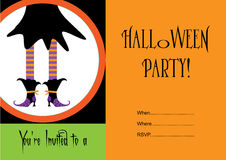 Halloween party invitation with witch. Stock Images