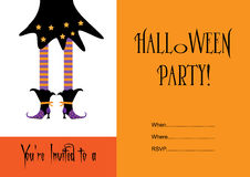 Halloween party invitation with witch Royalty Free Stock Images
