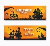 Halloween party invitations banner and greeting cards. Paper art royalty free illustration