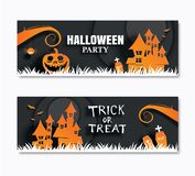 Halloween party invitations banner and greeting cards. Paper art stock illustration