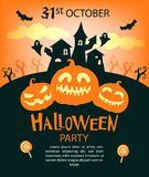 Halloween party invitations or greeting cards with traditional s stock illustration