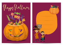Halloween party invitations with scary pumpkin Stock Images