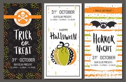 Halloween party invitations. Vertical banners set. Vector illustration  Stock Photos