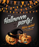 Halloween party invite pumpkins and bunting. Royalty Free Stock Images