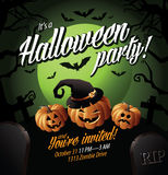 Halloween party invite pumpkins under a green moon Stock Photo