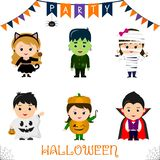 Halloween party kids character set. Children in a colorful Halloween costumes a black cat, a monster, a mummy, a ghost, a pumpkin,. A vampire in a cartoon style stock illustration