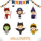 Halloween party kids character set. Children in a colorful Halloween costumes devil, pirate, pistol, astrologer, staff, zombie, ba. Halloween party kids royalty free illustration