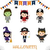 Halloween party kids character set. Children in a colorful Halloween costumes zombie, devil, skeleton, witch, broom, pirate, saber. Bat in a cartoon style royalty free illustration