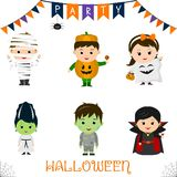 Halloween party kids character set. Children in a colorful Halloween costumes mummy, pumpkin, ghost, monster, zombie, vampire in a stock illustration