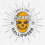 Halloween 2016 party label template with skull, sun bursts and typography elements. Vector text with retro grunge effect Royalty Free Stock Photos