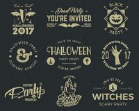 Halloween 2017 party label templates with scary symbols - zombie hand, witch hat, bat, pumpkin and typography elements. Use for party posters, flyers Stock Images
