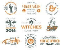 Halloween 2016 party labels templates with scary symbols - zombie hand, witch hat, bat, pumpkin and typography elements Stock Images