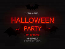 Halloween party light banner. Modern neon billboard on brick wall.   Royalty Free Stock Photography