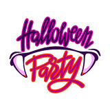 Halloween party logo. Lettering with vampire teeth Stock Photography