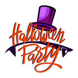 Halloween party logo. Lettering with vampire teeth and silk hat Royalty Free Stock Image