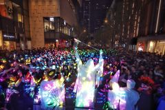 Halloween party. A lot of people are excited. at the halloween party stock photo