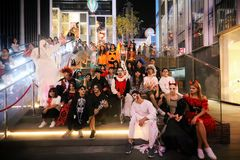 The Halloween party. A lot of people are excited at the halloween party royalty free stock image