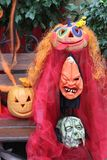 Halloween party masks. Festive halloween masks. Holiday decorations royalty free stock photo