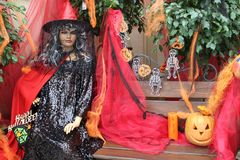 Halloween party masks. Festive halloween masks. Holiday decorations stock photos