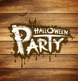 Halloween party message design on wood Royalty Free Stock Image