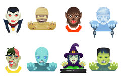 Halloween Party Monster Role Character Bust Icons Stock Photos