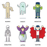 Halloween Party Monster Roles Characters Icons Set Isolated Flat Design Vector Illustration Stock Photography