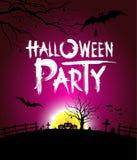 Halloween-Party am Nachtpurpurhintergrund Stockfotos