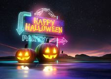 Halloween Party Neon Sign Royalty Free Stock Image