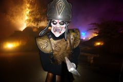Halloween party in Netherlands. Troy soldier costume Royalty Free Stock Photography